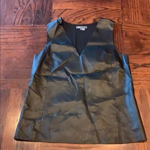 Vince camuto top sleeveless size 8 leather silk